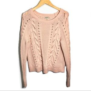 Lucky Brand Knitted Sweater XL Pink Open Knit